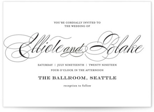 Small black and white wedding invite